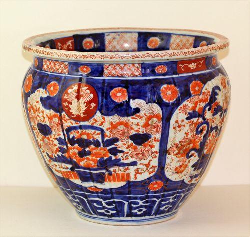 Japanese Imari Porcelain Hibachi, 19th C.