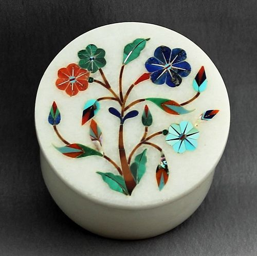 Marble Trinket Box, inlaid with stone