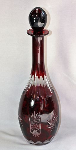 Bohemian wine color cut crystal Decanter
