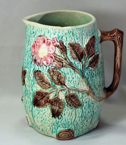 Majolica Pottery Pitcher with Wild Rose