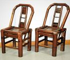 Pr. Chinese Bamboo small Chairs