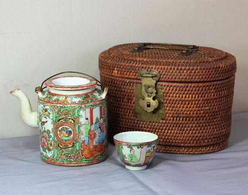 Chinese Export Rose Medallion Porcelain Tea set in fitted basket