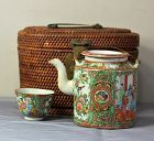 Chinese Export Rose Medallion Porcelain Tea Pot & Bowl