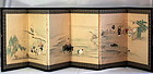 Japanese six(6) panel water color painted Screen