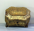 Chinese Export Lacquer Tea Caddy, 19th C.