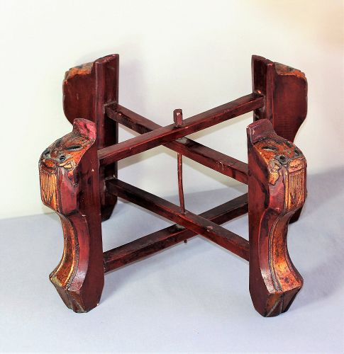 Chinese Lacquer on Wood Foo lion X-cross folding Display Stand