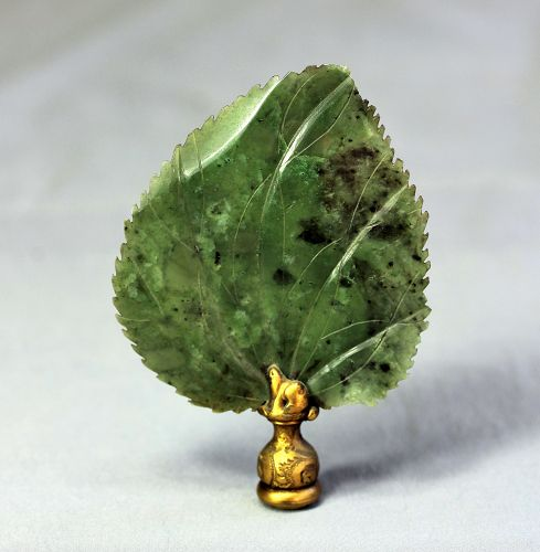Chinese Spinach Green color Jade Lamp Finial