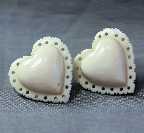 Pair Chinese Heart shape natural Ivory earrings