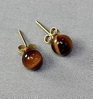 Pair Chinese natural Tiger's Eye  stone & 14K gold Earrings