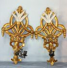 Pair Italian gilt on Wood carved Sconces & Brass Candle holders