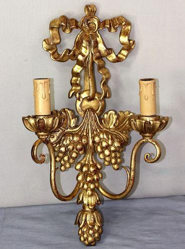 Italian Gilded on Wood 2 light Sconce, Grape design