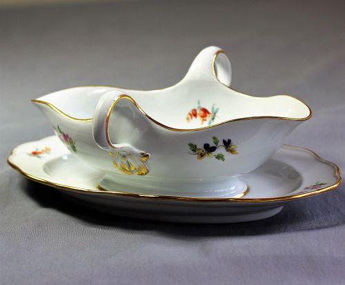 German Meissen Porcelain Gravy Boat & Tray, cross sword mark