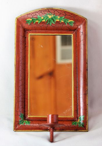Tole Sconce with mirror and red enamel