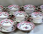 Set of 8 English Crescent Bouillon Soup Cups & Saucers