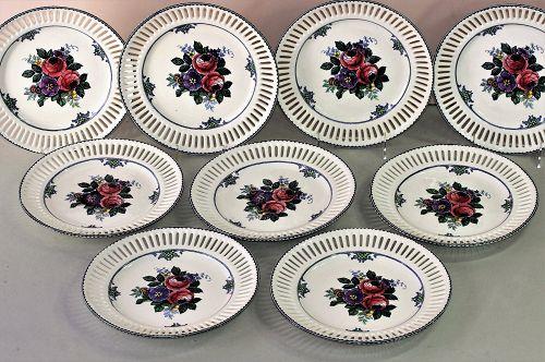 Nine(9) German Waechtersbach reticulated plates