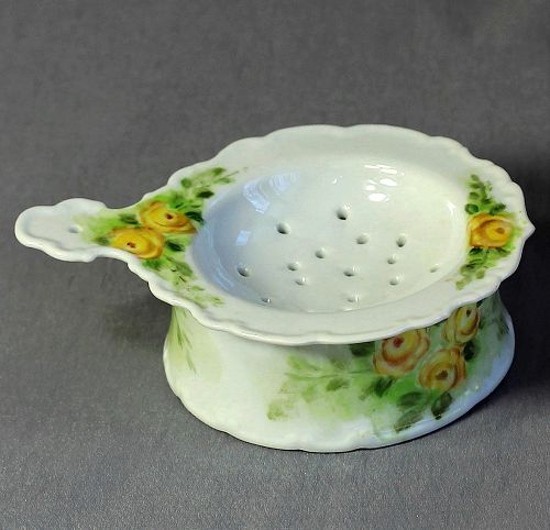 Porcelain Tea Strainer and bowl, hand painted