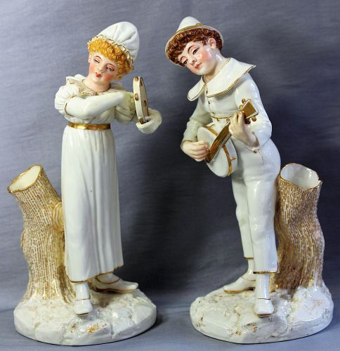 Pr. English Worcester Porcelain Figures, Musicians