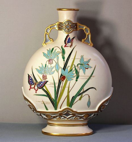 English Worcester Porcelain Large Flask shape Vase/Urn