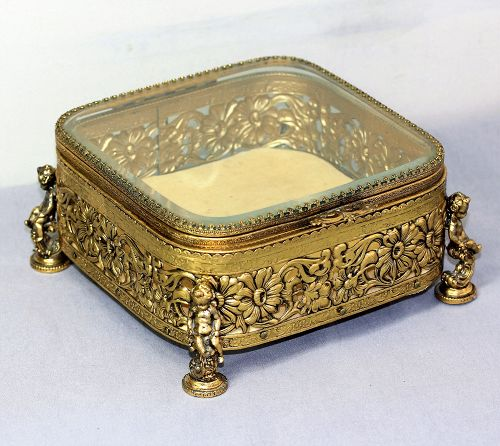 Beveled Glass in gilded Metal frame Jewelry Box