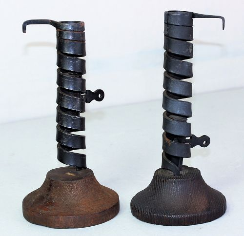 Pair Black Iron Twisted Candlesticks