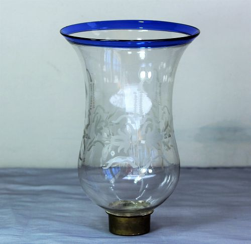 Etched Blue rim Glass Shade