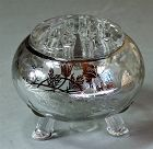Glass Silver applied Flower Arrangement Bowl and frog
