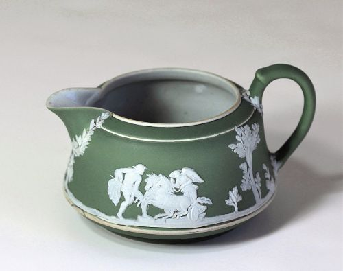English Wedgwood Jasper ware Green Creamer