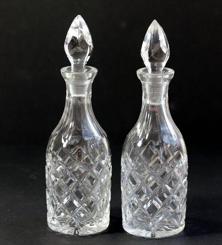 Two(2) piece Cut Glass Cruet Set with Top