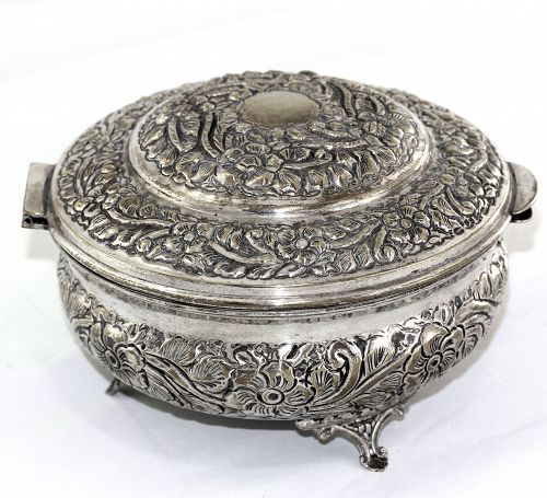Repousse Silver Plated Jewelry Box
