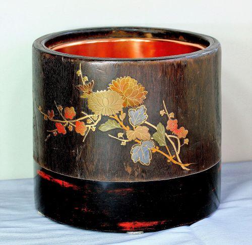 Japanese Lacquer decoration on Kiri wood Hibachi