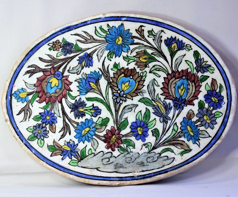 Persian Pottery Tile, large oval shape floral design