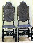 Pr. Cuban tooled black Leather Chairs, Spanish colonial style