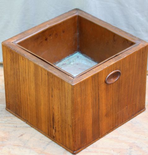 Japanese square Kiri wood Hibachi with copper liner