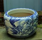 Japanese Blue and White large Porcelain Hibachi with handle