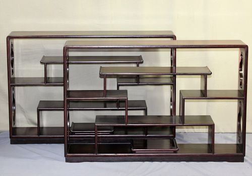 Pair Chinese Rosewood Scholar's Display Shelves