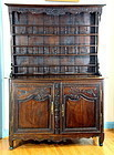 18th C. French Dark Oak Country Louise XV Buffet Cupboard