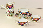 English Shelly Porcelain Demitasse pot,  cup & saucer, total 5 pieces