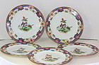 Five(5) English Shelley Porcelain Dinner Plates, Old Sevres pattern