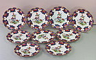 "English Shelley Porcelain Scalloped edge Dessert Plates, ""Old Sevres"""