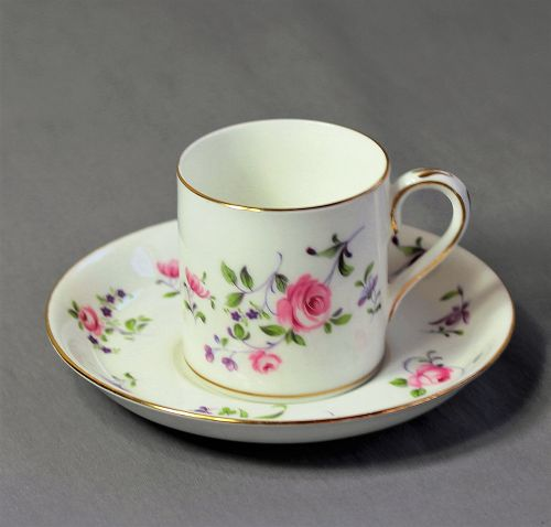 English Crown Staffordshire Porcelain Demitasse Cup & Saucer