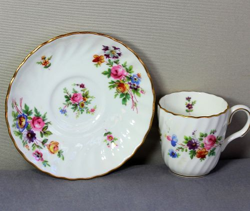 English Mintons Porcelain fluted Demitasse Cup and Saucer