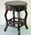 Chinese Hardwood and Mottled Natural Marble top round Stool/table