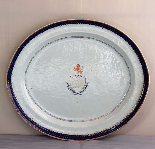 Chinese Export  Porcelain Platter, with American family Lion Seal