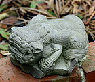 Chinese carved Grey Sand Stone Foo Dog with Ball
