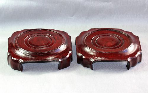 Two(2) Chinese Rosewood Display Stand, square bottom, round top