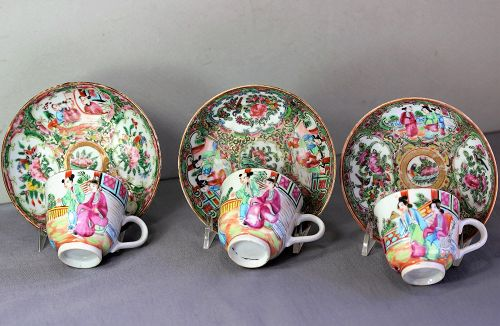 3 Chinese Export Rose Medallion Porcelain Demitasse Cups & Saucers