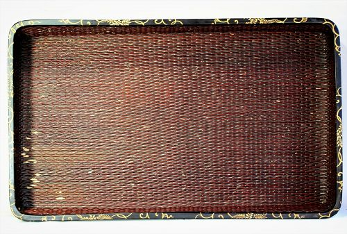 Japanese Kimono Tray, Lacquer on Reed with Lacquer trim
