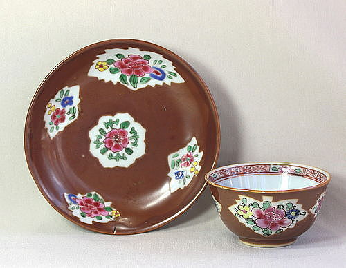 Chinese Export Porcelain Cafe Au Lait & Famille Rose Tea Bowl & Saucer
