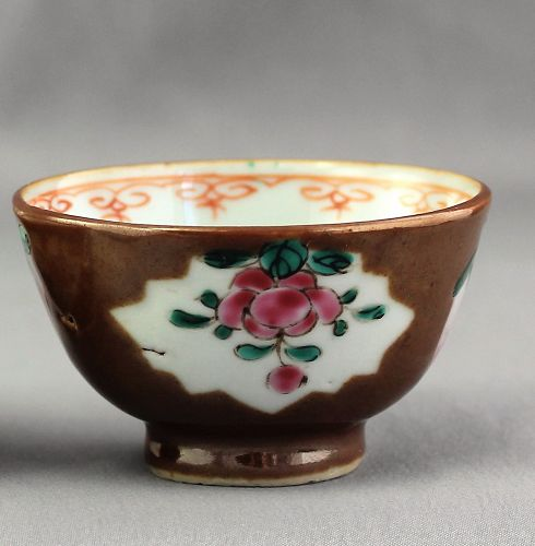 Chinese Export Cafe Au Lait & Famille Rose Porcelain Tea Bowl
