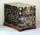 Korean Mother of Pearl inlaid black Lacquer Chest or Box for Scholar